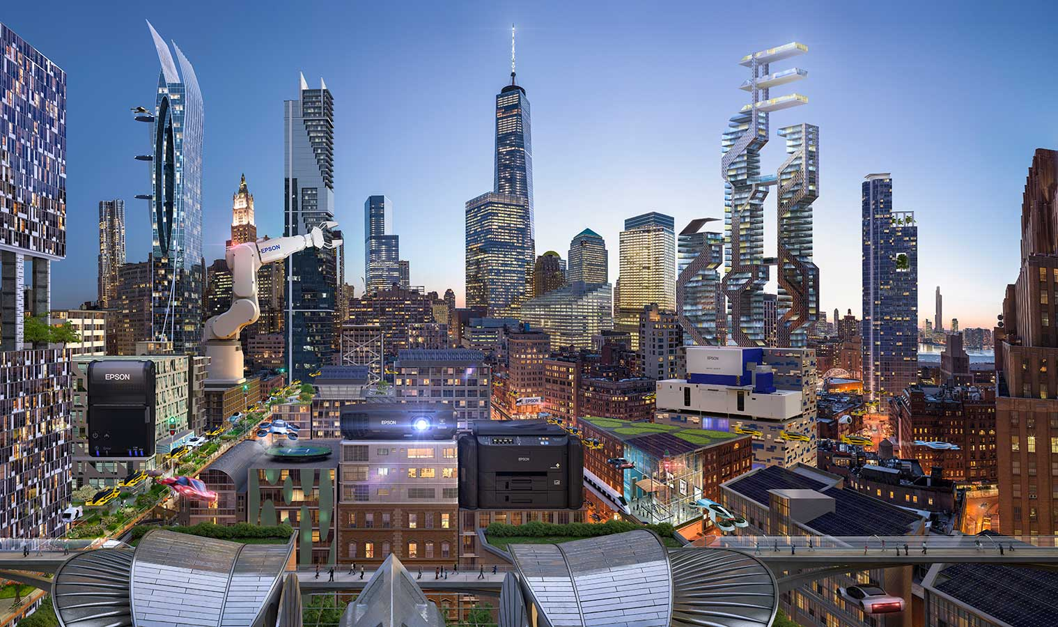 Working with Glen Wexler to produce future cities for Epson