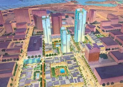 Long Beach Revitalization plan birdseye view