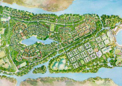 Qingdao master plan watercolor rendering