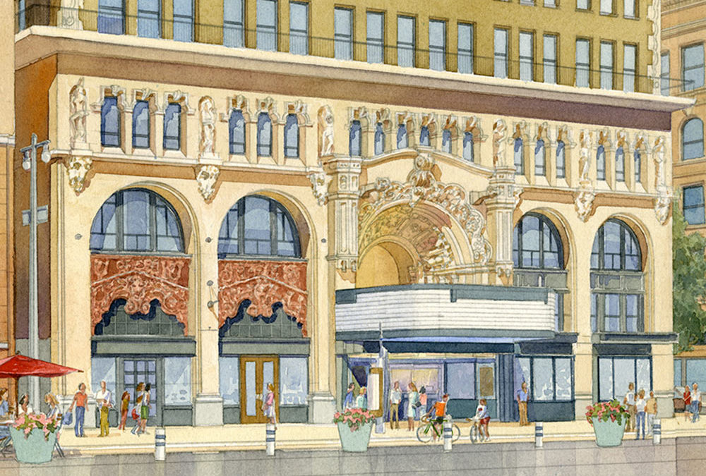 Million Dollar Theater watercolor rendering awarded the ASAI  2016 Observational Award of Excellence!