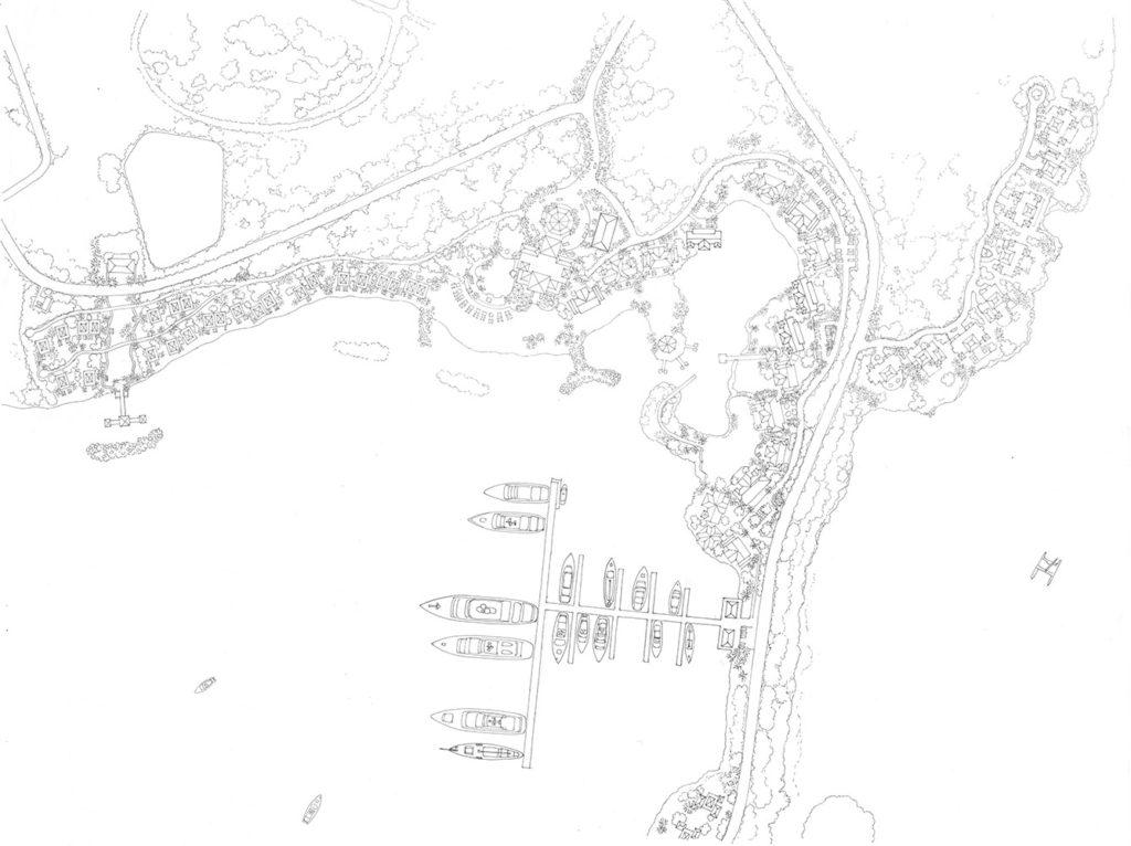 line art of caribbean resort site plan