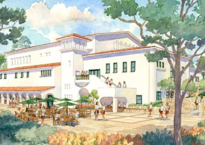 proposed theater building watercolor rendering