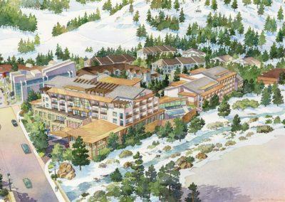 ski resort hotel birdseye view