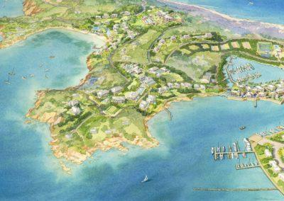 Caribbean resort island architectural rendering