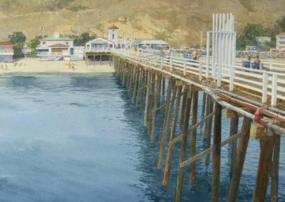 Malibu Pier watercolor by Jon Messer.