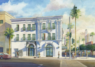 Criterium Apartments, Watercolor by Jon Messer.