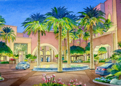 Entry drive view, watercolor by J Messer.