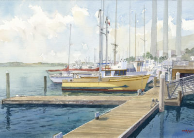 Yellow hulled boat, watercolor by J Messer.
