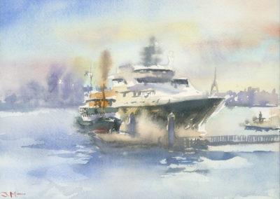 Lonsdale Quay. Watercolor J Messer.
