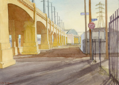 6th Street bridge, watercolor by J Messer.