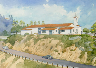 Private School Auditorium. Watercolor by J Messer